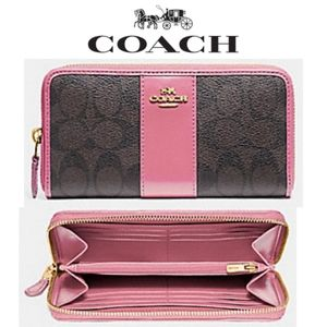 NEW Coach Accordion Wallet in Brown & Pink w/ box